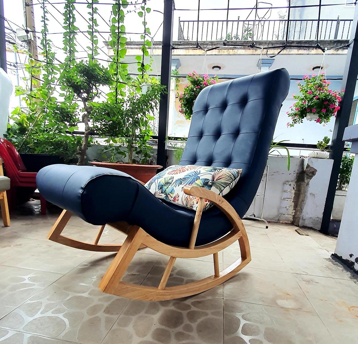 Ghế thư giãn - ghế bập bênh (xanh đen)