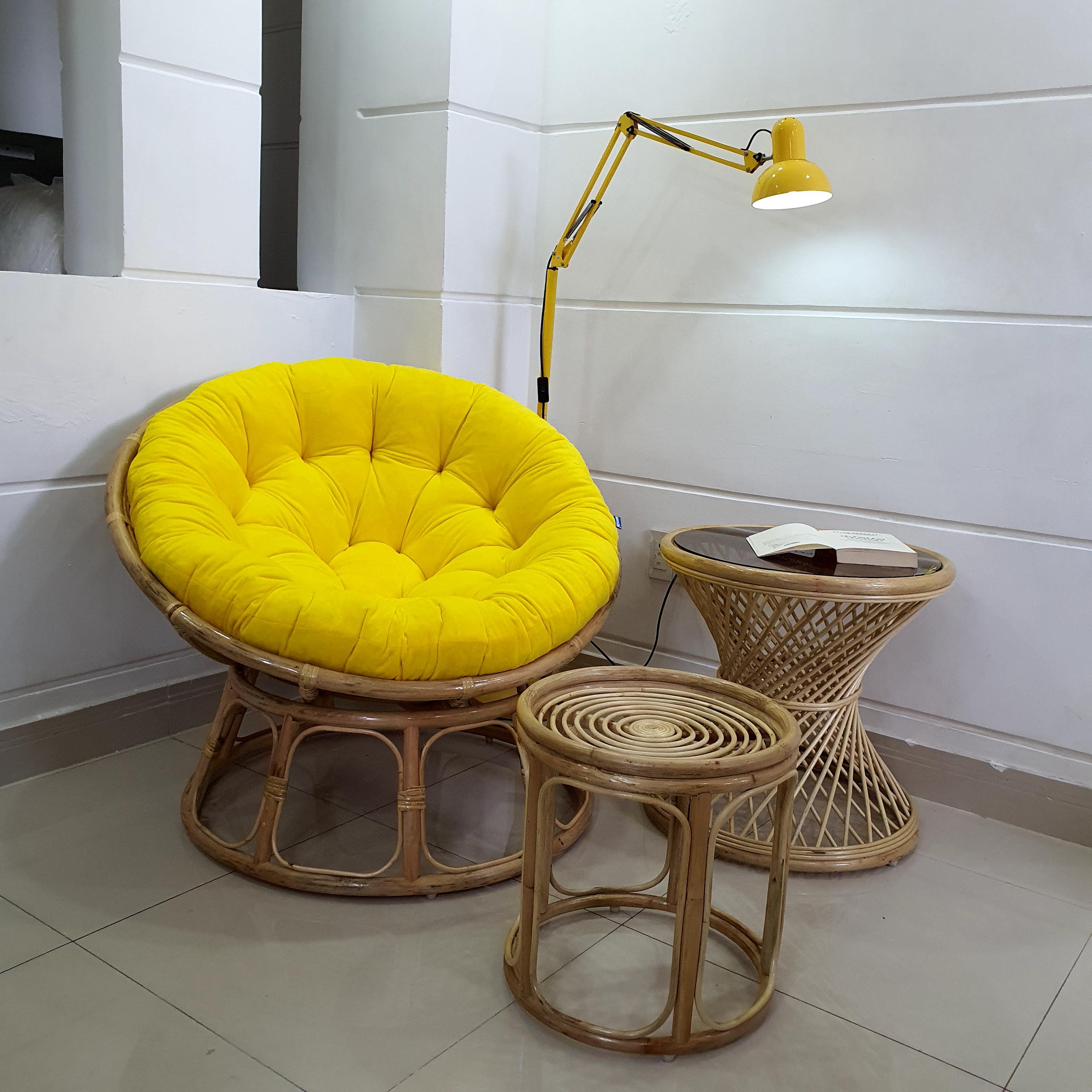 Ghế papasan size 1m + đôn ghác chân ( Vàng)