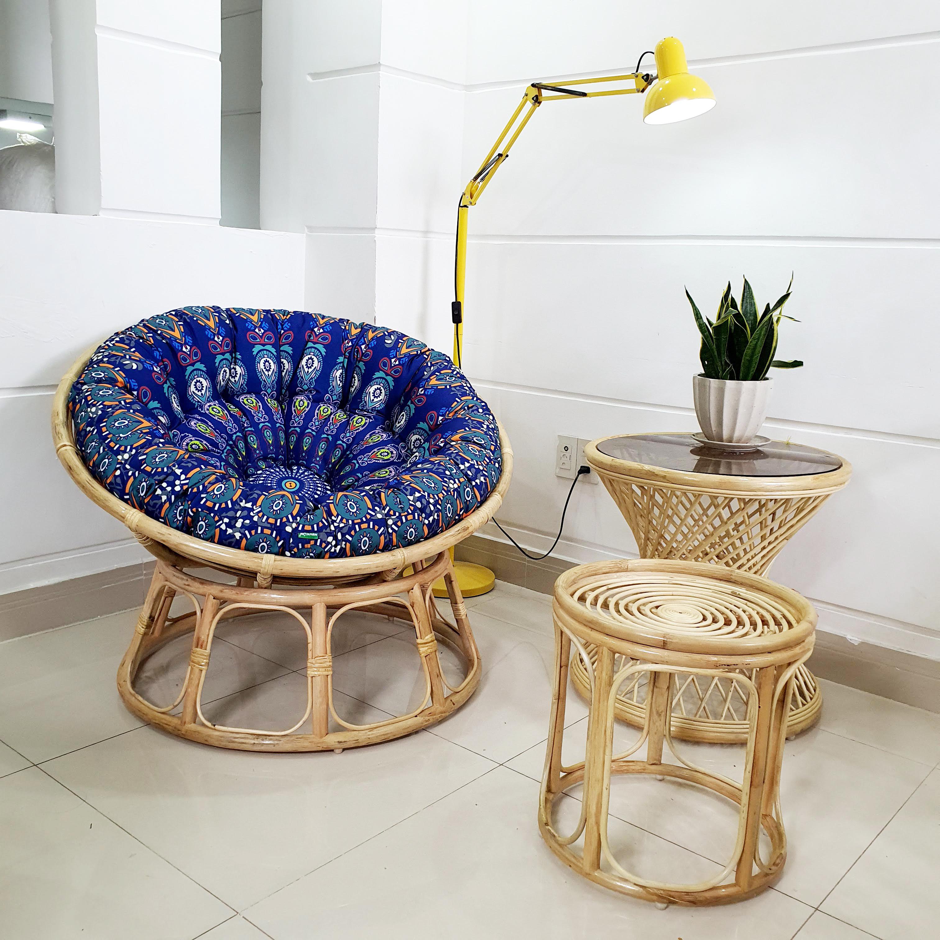 Ghế papasan vải bố in hoạ tiết (xanh) + đôn - size 1m