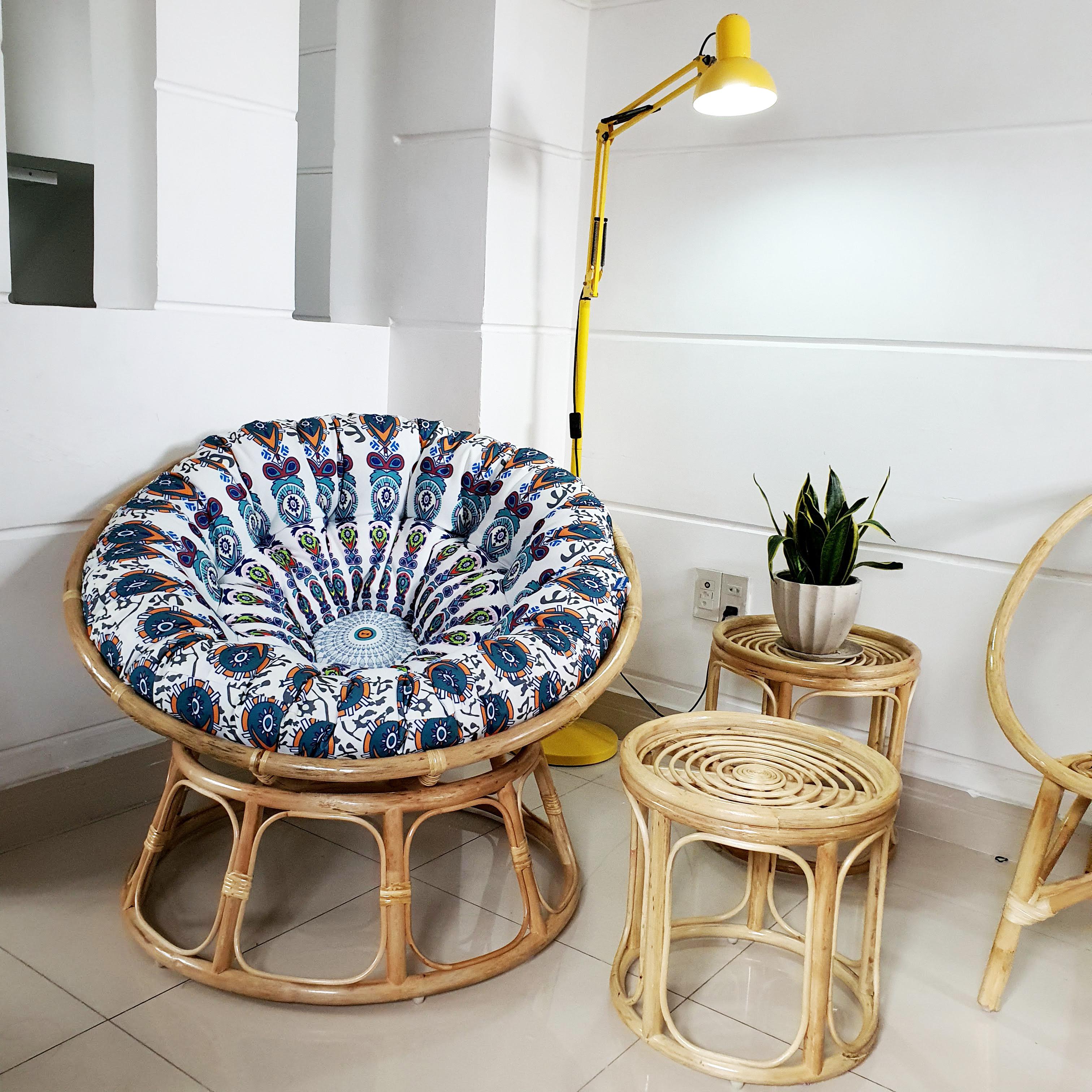 Ghế papasan vải bố in hoạ tiết ( trắng) + đôn - size 1m