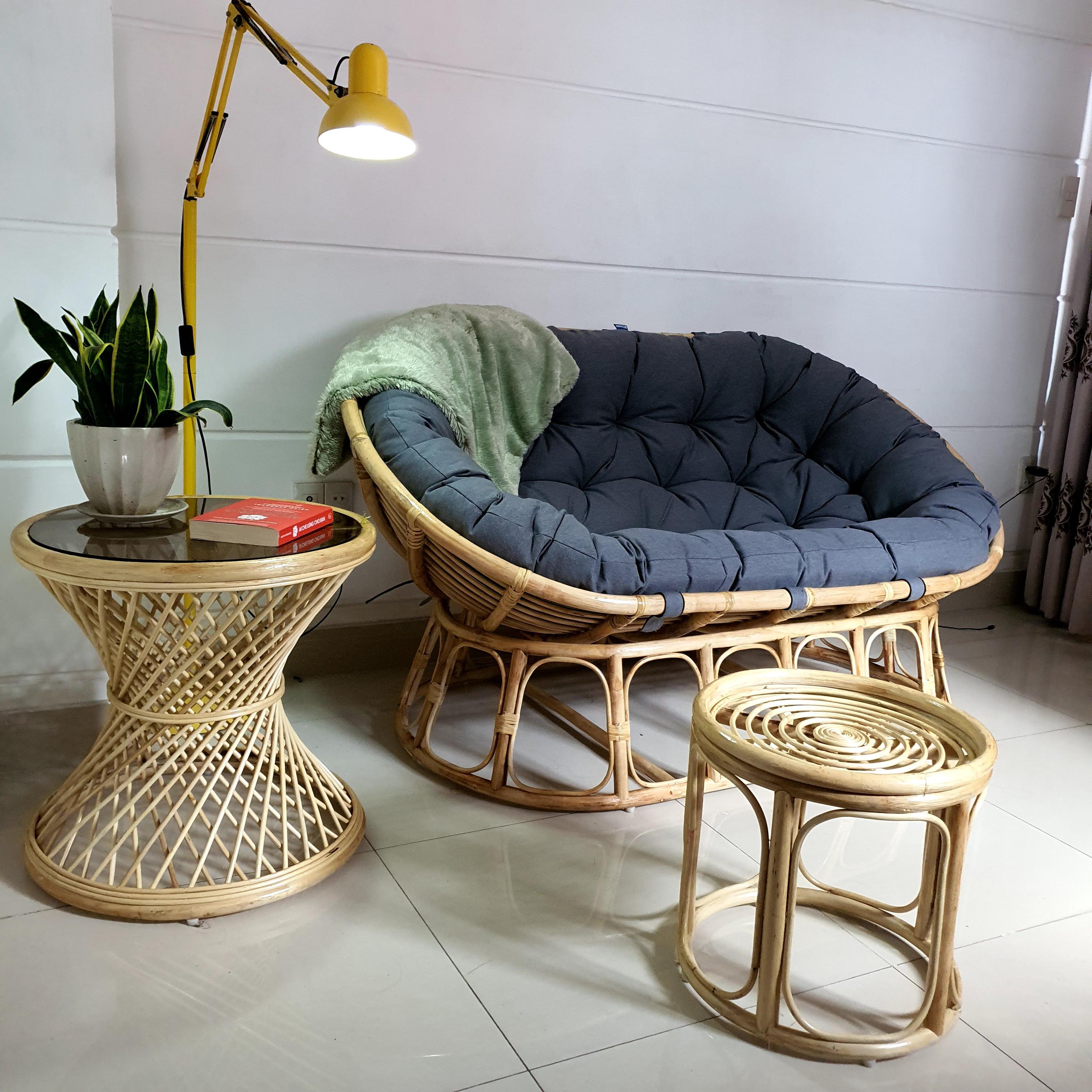 Bộ ghế papasan đôi (vải bố canvas xám)