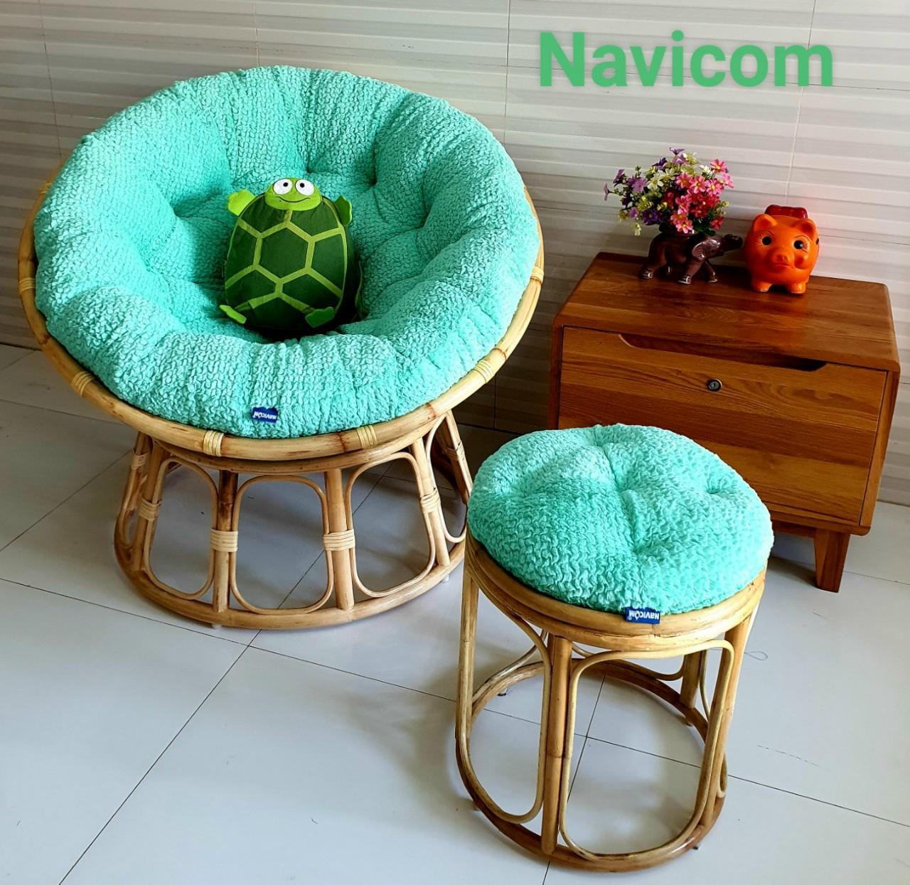 Ghế papasan size 1m + đôn ( vải nhung cao cấp xanh ngọc)