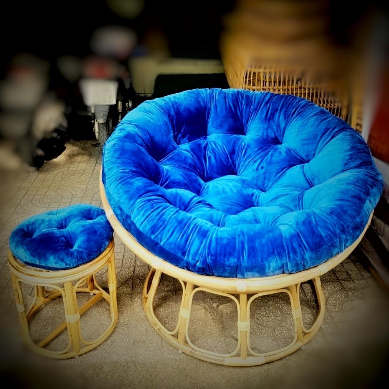 Ghế papasan size 1m + đôn (nệm nhung xanh dương)