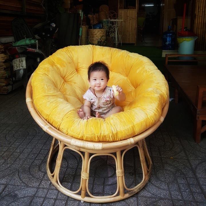 Ghế papasan size 1m (nệm nhung vàng)